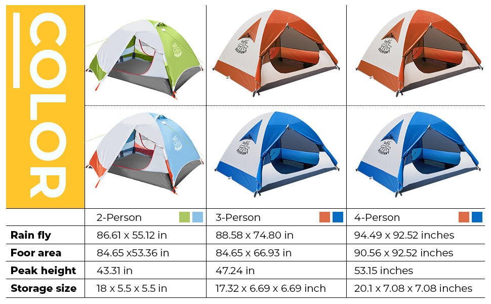 DEERFAMY 2/3/4 Person Camping Tent