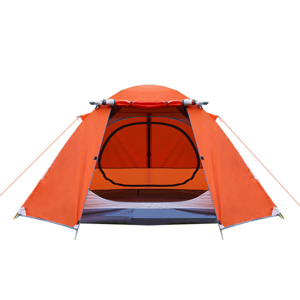 DEERFAMY 3 4 Person Tent, Waterproof Tents for Camping, Ultralight Backpacking Tent with Aluminum Poles and Expandable Storage Bag, Orange Tent