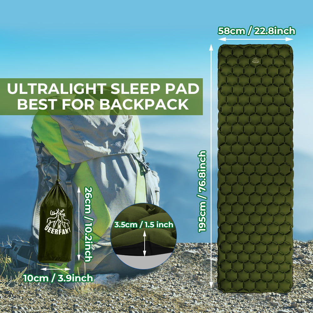 Camping Air Inflatable Sleeping Pad - Army Green