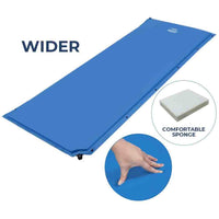 25 Inch Super Wide Self Inflating Sleeping Pad for Family Camping - Blue