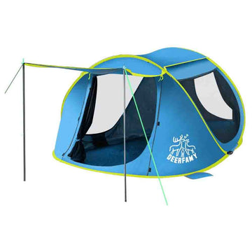 3-4 Person Pop Up Instant Tent for Family Beach Outdoor Camping - Blue