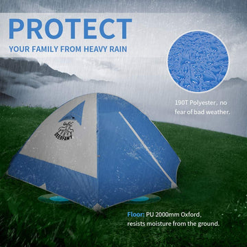 3/4 Person Family Camping Dome Tent - Blue