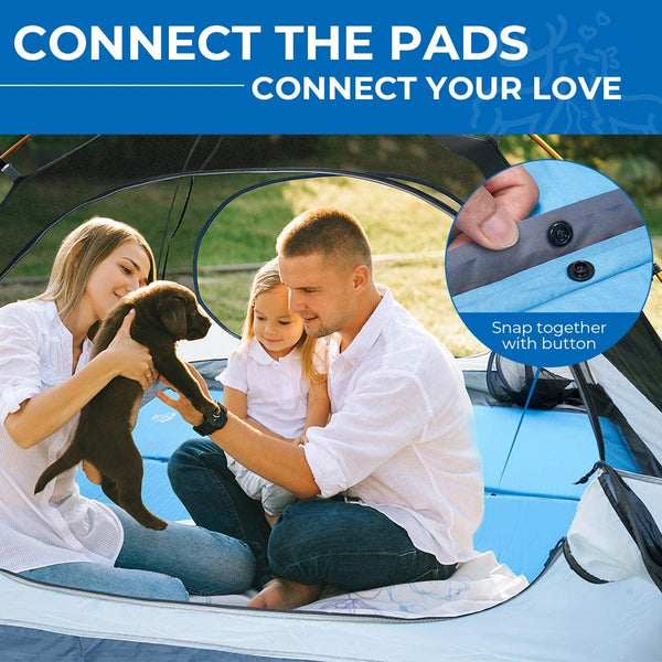 25 Inch Super Wide Self Inflating Sleeping Pad for Family Camping 2 Pack