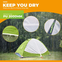 2 Person Compact Camping Dome Tent - Green