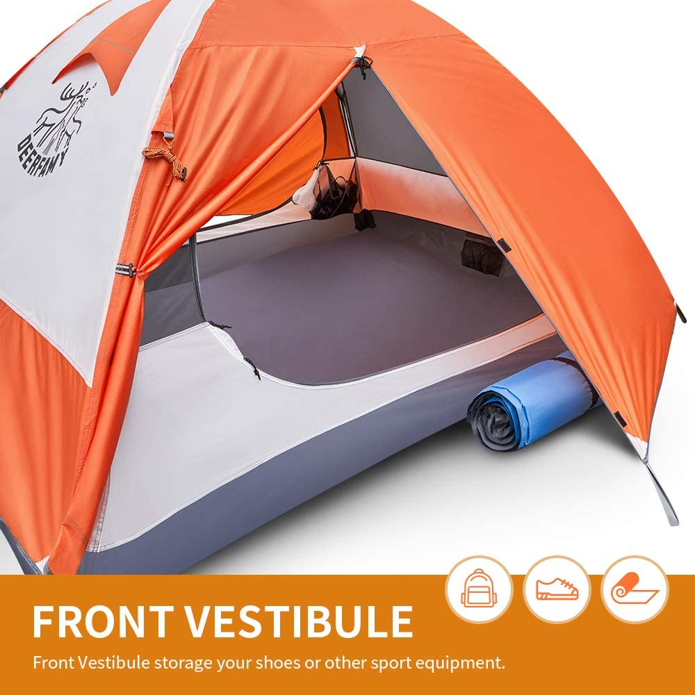3/4 Person Family Camping Dome Tent - Orange