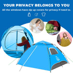 3-4 Person Instant Waterproof Tents for Camping - Blue