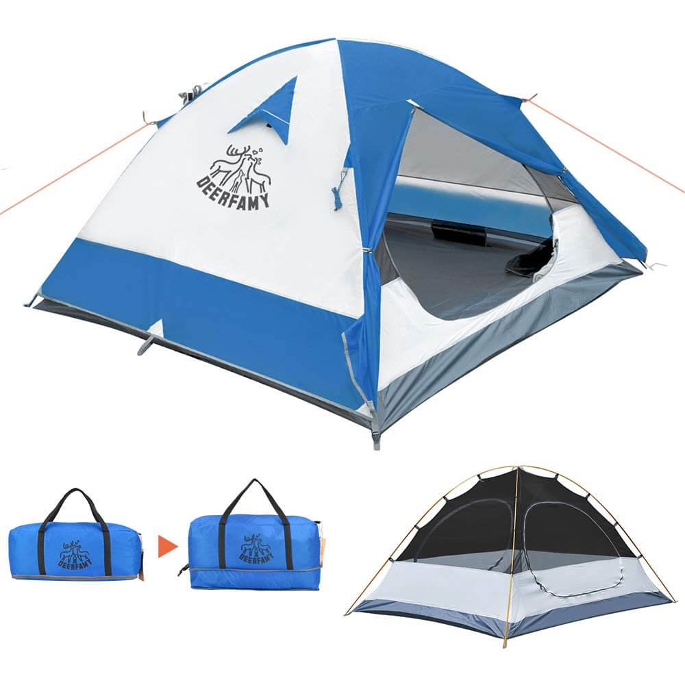 DEERFAMY 2-3 Person Family Camping Dome Tent  (Blue) - DEERFAMY