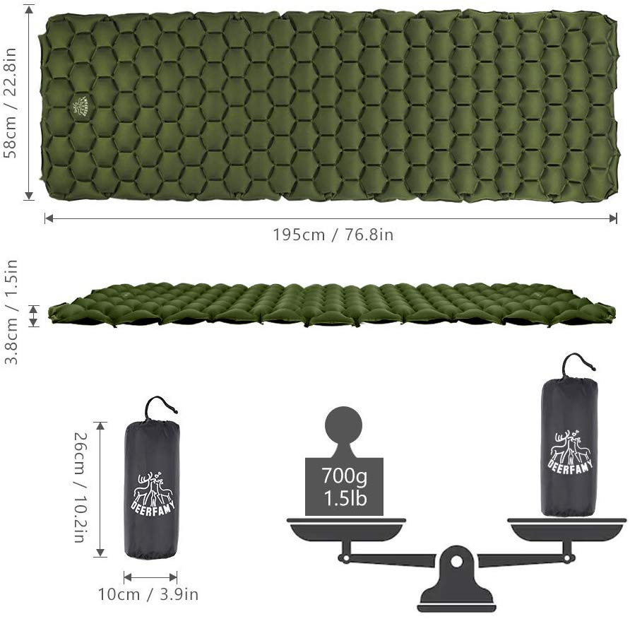 Camping Inflatable Sleeping Pad 2 Pack - Army Green