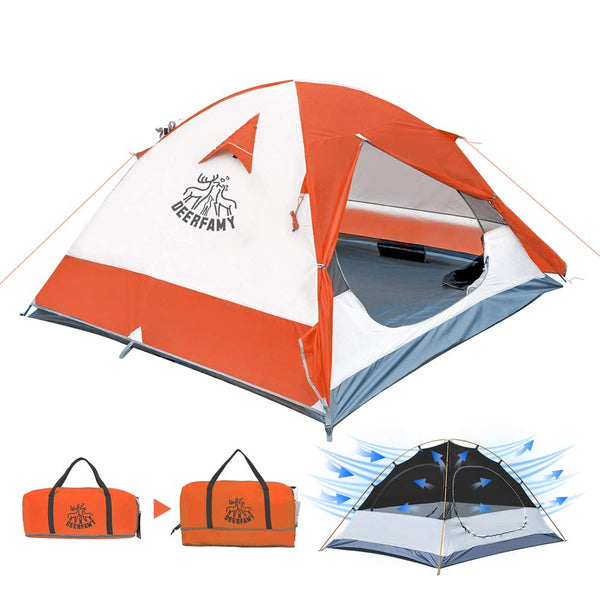 DEERFAMY 2-3 Person Family Camping Dome Tent (Orange) - DEERFAMY