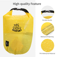 DEERFAMY 5L Dry Bag Waterproof, Mini Storage Bag Roll Top Dry for SUP, Boating, Camping Hiking, Fishing, Rafting, Kayaking, Swimming