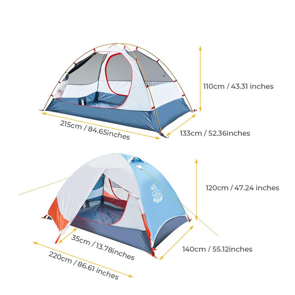 DEERFAMY 1/2 Person Compact Camping Tent, Lightweight Backpacking Double Layer Dome Tent, 3 Season Waterproof Family Tent for Outdoor, Hiking, or Fishing