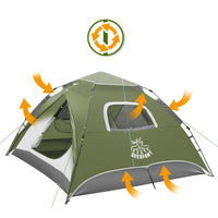 3-4 Person Instant Waterproof Tents for Camping - Green