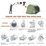 3-4 Person Pop Up Instant Tent for Family Beach Outdoor Camping - Green