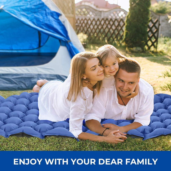 Camping Inflatable Sleeping Pad 2 Pack - Blue & Army Green