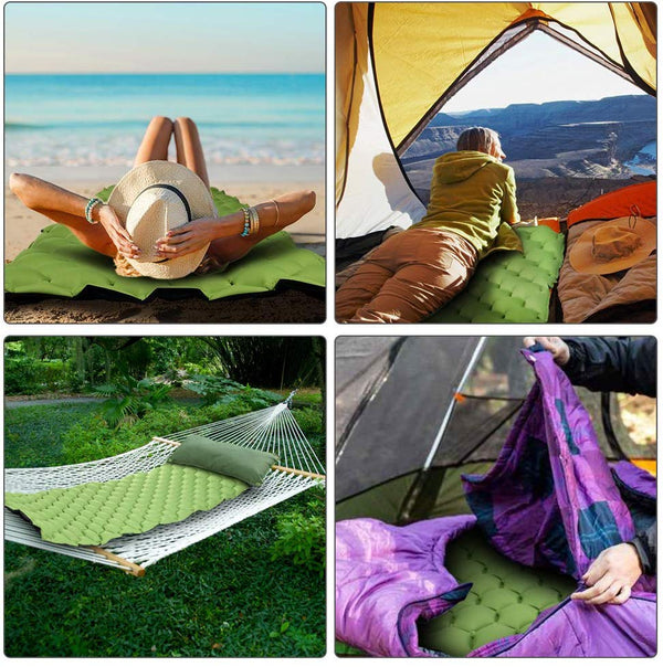 Camping Inflatable Sleeping Pad 2 Pack - Green & Army Green
