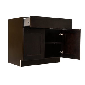 Anchester Espresso Base Cabinet 2 Drawers 2 Doors 1 Adjustable Shelf