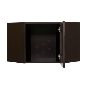 Anchester Espresso Wall Mullion Door Diagonal Corner Cabinet 1 Door No Shelf Glass Not Included