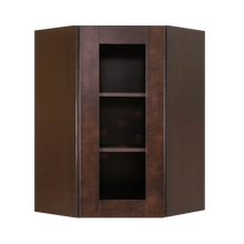 Load image into Gallery viewer, Anchester Espresso Wall Mullion Door Diagonal Corner Cabinet 1 Door 2 Adjustable Shelves Glass Not Included