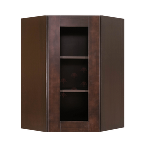 Anchester Espresso Wall Mullion Door Diagonal Corner Cabinet 1 Door 2 Adjustable Shelves Glass Not Included