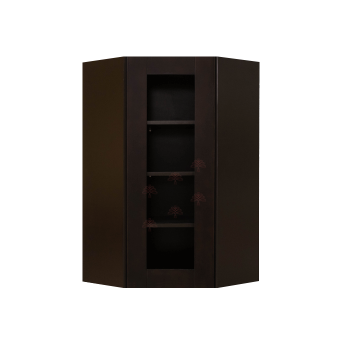 Anchester Espresso Wall Mullion Door Diagonal Corner Cabinet 1 Door 3 Adjustable Shelves Glass Not Included