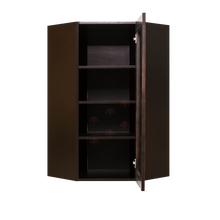 Load image into Gallery viewer, Anchester Espresso Wall Mullion Door Diagonal Corner Cabinet 1 Door 3 Adjustable Shelves Glass Not Included