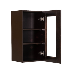 Anchester Espresso Wall Mullion Door Cabinet 1 Door 2 Adjustable Shelves 30 Inch Height Glass Not Included