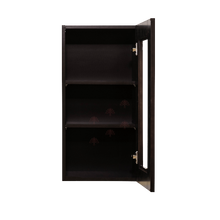Load image into Gallery viewer, Anchester Espresso Wall Mullion Door Cabinet 1 Door 2 Adjustable Shelves 30 Inch Height Glass Not Included