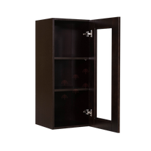 Load image into Gallery viewer, Anchester Espresso Wall Mullion Door Cabinet 1 Door 2 Adjustable Shelves Glass Not Included