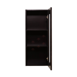 Anchester Espresso Wall Mullion Door Cabinet 1 Door 2 Adjustable Shelves Glass Not Included