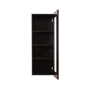 Anchester Espresso Wall Mullion Door Cabinet 1 Door 3 Adjustable Shelves Glass Not Included