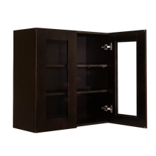 Load image into Gallery viewer, Anchester Espresso Wall Mullion Door Cabinet 2 Doors 2 Adjustable Shelves 30 Inch Height Glass Not Included