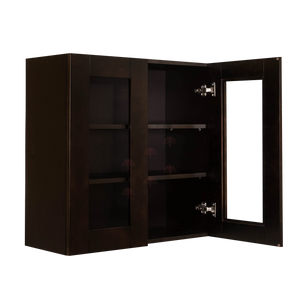 Anchester Espresso Wall Mullion Door Cabinet 2 Doors 2 Adjustable Shelves 30 Inch Height Glass Not Included