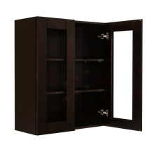 Load image into Gallery viewer, Anchester Espresso Wall Mullion Door Cabinet 2 Doors 2 Adjustable Shelves Glass Not Included