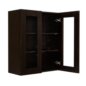 Anchester Espresso Wall Mullion Door Cabinet 2 Doors 2 Adjustable Shelves Glass Not Included