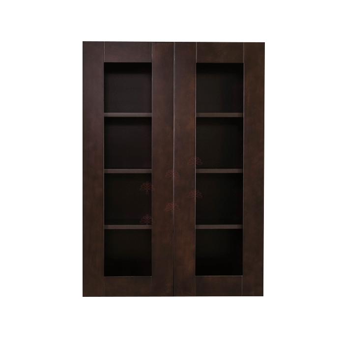 Anchester Espresso Wall Mullion Door Cabinet 2 Doors 3 Adjustable Shelves Glass Not Included