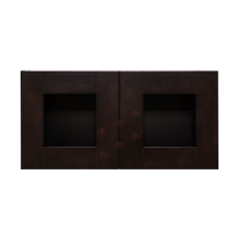 Load image into Gallery viewer, Anchester Espresso Wall Mullion Door Cabinet 2 Doors No Shelf 24 Inch Depth Glass Not Included