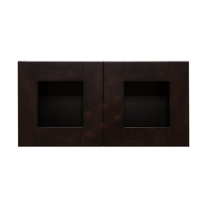 Anchester Espresso Wall Mullion Door Cabinet 2 Doors No Shelf 24 Inch Depth Glass Not Included