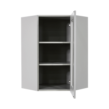 Load image into Gallery viewer, Anchester Gray Wall Mullion Door Diagonal Corner Cabinet 1 Door 2 Adjustable Shelves Glass Not Included