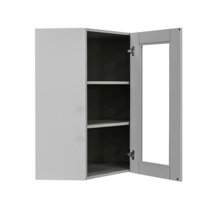 Anchester Gray Wall Mullion Door Diagonal Corner Cabinet 1 Door 2 Adjustable Shelves Glass Not Included