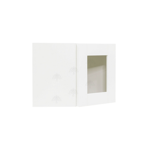 Anchester White Wall Mullion Door Diagonal Corner Cabinet 1 Door No Shelf Glass Not Included