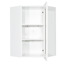Load image into Gallery viewer, Anchester White Wall Mullion Door Diagonal Corner Cabinet 1 Door 2 Adjustable Shelves Glass Not Included