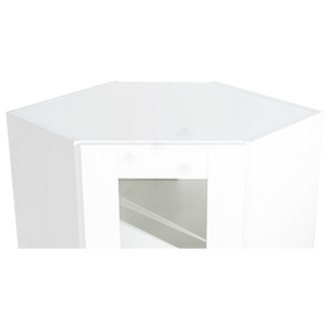 Anchester White Wall Mullion Door Diagonal Corner Cabinet 1 Door 2 Adjustable Shelves Glass Not Included