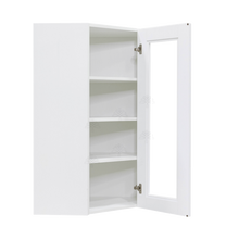 Load image into Gallery viewer, Anchester White Wall Mullion Door Diagonal Corner Cabinet 1 Door 3 Adjustable Shelves Glass Not Included