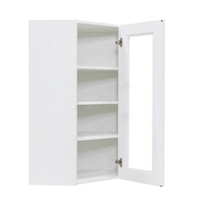 Anchester White Wall Mullion Door Diagonal Corner Cabinet 1 Door 3 Adjustable Shelves Glass Not Included