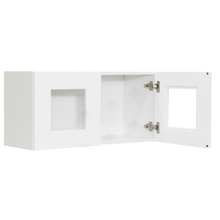 Load image into Gallery viewer, Anchester White Wall Mullion Door Cabinet 2 Doors No Shelf Glass Not Included