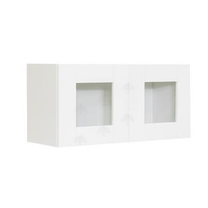 Anchester White Wall Mullion Door Cabinet 2 Doors No Shelf Glass Not Included