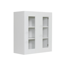 Load image into Gallery viewer, Anchester White Wall Mullion Door Cabinet 2 Doors 2 Adjustable Shelves 30 Inch Height Glass Not Included