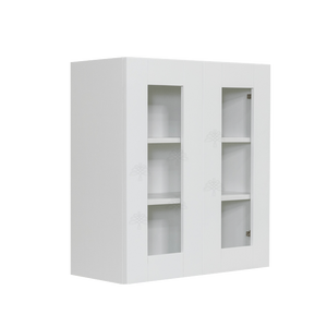 Anchester White Wall Mullion Door Cabinet 2 Doors 2 Adjustable Shelves 30 Inch Height Glass Not Included