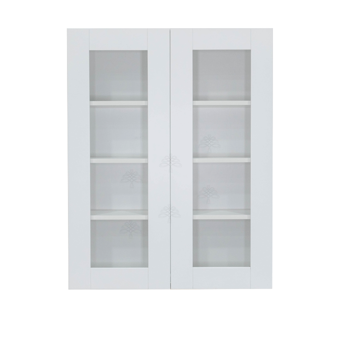 Anchester White Wall Mullion Door Cabinet 2 Doors 3 Adjustable Shelves Glass Not Included