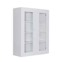 Load image into Gallery viewer, Anchester White Wall Mullion Door Cabinet 2 Doors 3 Adjustable Shelves Glass Not Included